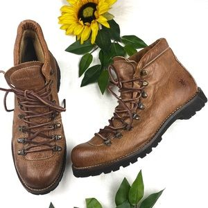 Frye Hiker Mens Brown Tan Leather Boots Lace up